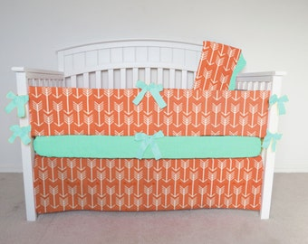 FREE SHIPPING - 4 Piece Crib Set - Arrow crib set pumpkin, orange, faded orange