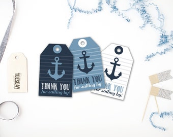 Nautical Thank You Tags - Ahoy It's A Boy Baby Shower - Ocean - Nautical - Anchor - Baby Boy - Instant Download