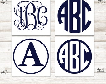 Navy Blue Monogram Decal – Dark Blue Vinyl Decal – Steel Blue Vinyl Monogram – Navy Blue Yeti Decal – Dark Blue Personalized Decal D220