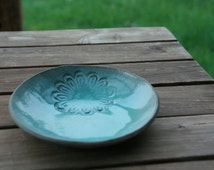 Medium size Turquoise Serving Bowl made from Gray Clay with a glossy glaze - House warming gift idea