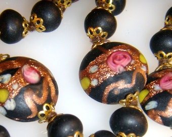 Venetian Murano Black Wedding Cake Beaded Necklace