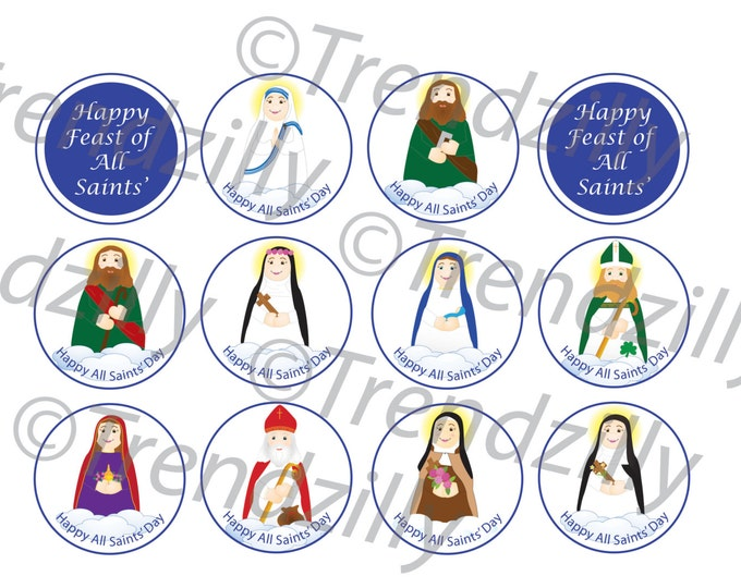 All Saints' Day Cupcake Toppers, Soft Saints Printable All Saints Day Cupcake Toppers, All Saints Printables, Feast Day Instant download.