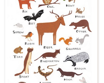 Irish Woodland Animals Print