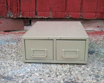 On Sale, Vintage Metal 2 Drawer File Cabinet,Tan Color,Card Cabinet,Industrial