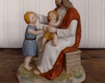 Jesus Loves the Little Children Figurine - 1996 Home Interiors & Gifts Figurine - HOMCO Ceramic Figurine