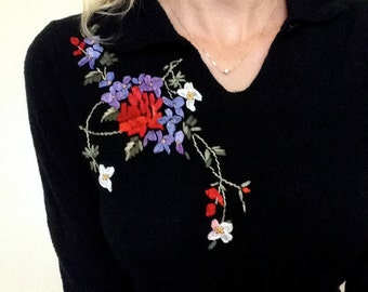 Beautiful Black Sweater with Floral Embroidery