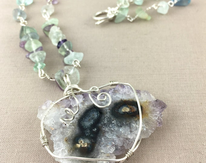Amethyst Stalactite Necklace // Raw amethyst necklace, sterling silver necklace, jewelry under 100, fluorite necklace, gemstone necklace