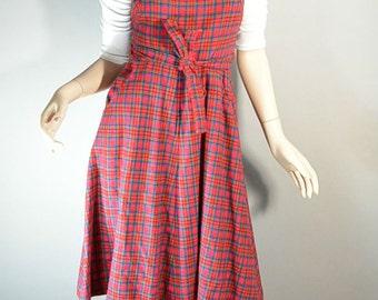 Lanz Original Red Plaid Wrap Dress// 60s Plaid Dress// Corduroy Wrap Dress