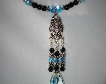 Black & Aqua Drop Necklace