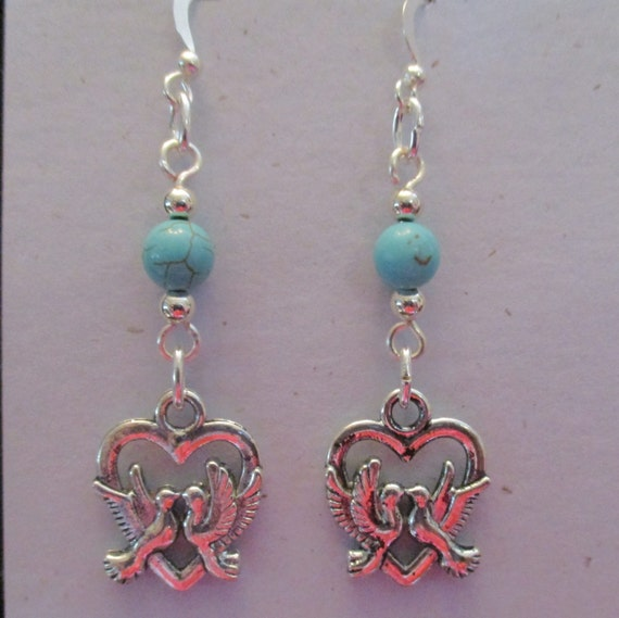 Magnesite and Love Birds Charms Earrings 6151764