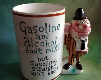 "Vintage Enesco ""Gasoline and alcohol don't mix"" mug made in Japan"