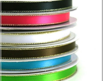 """3/8"""" Personalized Satin Ribbon with Gold edge, favor accessories Lot of 15 ribbons"""