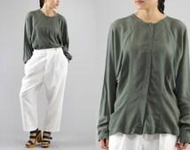 Button Up Olive Green Long Sleeve Blouse Light Weight Dolman Sleeve Shirt By Audio Futurewear Women's Size