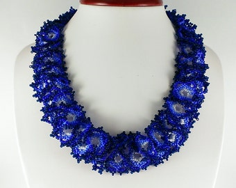 Violet necklace Beaded necklace Seed bead necklace Blue necklace Beaded choker Dark blue necklace Beaded collar Lace necklace Beads necklace