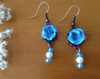 blue rose earrings with glass beads