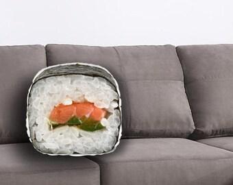 Sushi Printed Pillow - Sushi Lover Gift, Sushi Print, Maki print, Linen Throw pillow, Food Home Decor