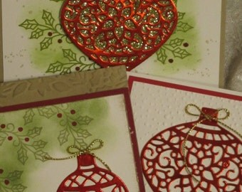 Card Class Kit ~ Red Foil Embellished Ornaments