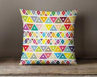 Colourful nursery pillow, kids pillows, geometric pillow case, decorative pillows,living room decor,nursery,kids bedroom,16x16, 18x18, 20x20