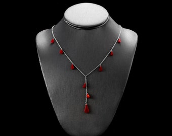 Red Lariat Necklace/ Red Coral Lariat/ Coral Drop Necklace/ Red Drop Necklace/ Red Bridal Lariat