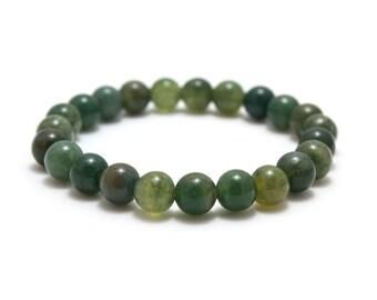 Moss Agate Bracelet/ 8mm Bead Bracelet/ Moss Agate Jewelry/ Green Agate Bracelet/ Mens Green Bracelet