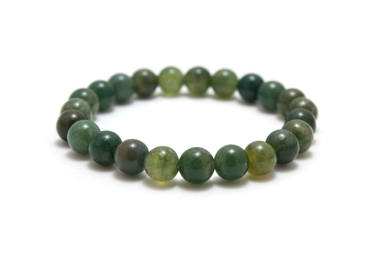 moss agate bracelet 8mm bead bracelet moss agate jewelry