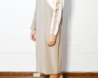 Taupe and White Colorblock Dress