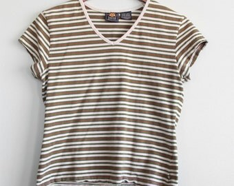 90's Striped Green V-Neck