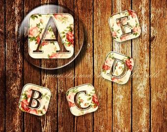 Round' Vintage Floral Alphabet Digital Collage Sheet,Flower,VFA11,1 inch,25mm,Text Tile Printable Instant Download Circle Image,Cabochon,Art
