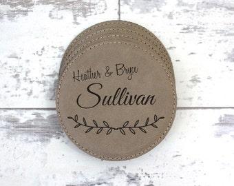 Coaster Set - Set of 6 PersonalizedFamily Name Leather Coasters With Holder - Housewarming Gift, Wedding Gift