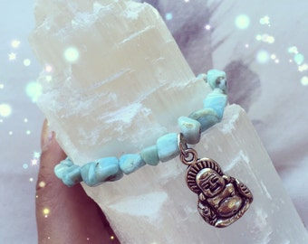Larimar Buddha Charm Bracelet, Reiki Infused, Metaphysical
