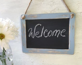 Small Chalkboard Sign- Distressed Wood Framed Chalkboard- Wedding Decor- Birthday Part, Baby Shower Photo Prop