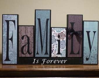 Family blocks, Home Decor, Custom Christmas Gift, Family Wood Block Letters, Custom Name Blocks, Family is Forever, Family sign Personalized