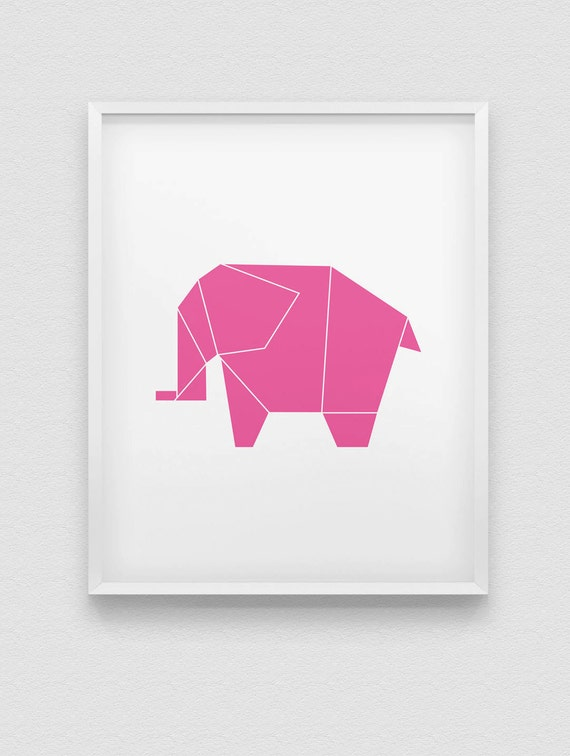 Origami Elephant Print Black Pink Blue White Home Decor