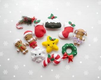 Set Felt Christmas ornament Kawaii Felt Christmas Ornaments Star  Reineer Candy can Cardinal Angel Stocking ornaments Christmas decorations