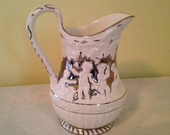 Wedgwood Cherub Pitcher Silver Luster on Cream Etruria England Marked and Artist Signed -No 30