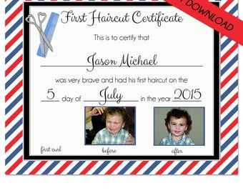 FIRST HAIRCUT CERTIFICATE - Baby First Haircut Photo Certificate - Instant Download- psd File - diy - 8 x 10 High Quality 300 dpi