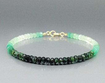 Ombre bracelet with shaded Emerald with 14K gold - gift idea