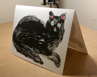 A5 Black Cat Double Sided Greetings Card