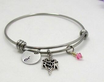 Registerd Nurse Bracelet - Birthstone Jewelry - Initial Bracelet - RN Bangle Bracelet - Nurse Bangle - Personalized Gift - Custom Bracelet
