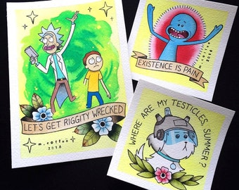 LIMITED TIME OFFER - Rick and Morty Tattoo Flash Bundle by Michelle Coffee