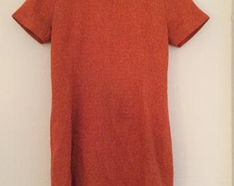 60s 70s Burnt Orange Mini Dress. 1960s - 1970s Orange Plaid Short Sleeve Mod Dress. Small. Medium.
