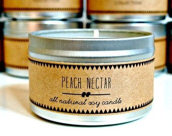 PEACH NECTAR Soy Candle. Natural Candle. Scented Candle. Eco Friendly. Vegan Friendly. Gift for Her.