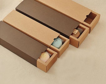 10 Long Kraft Paper Drawer Boxes - Macarons, Cookies, Soaps Outer Case Gift Sets Packaging - Wedding Party Favors Supplies