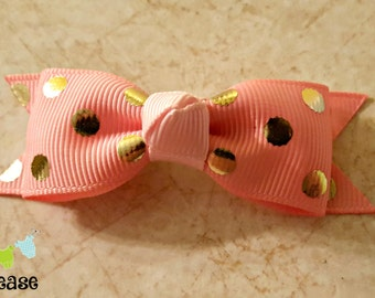 Infant Hair Clip Newborn Girl Hair Clip Pink and Gold Hair Clip Newborn Take Home Accessories Baby Shower Gift Stocking Stuffer