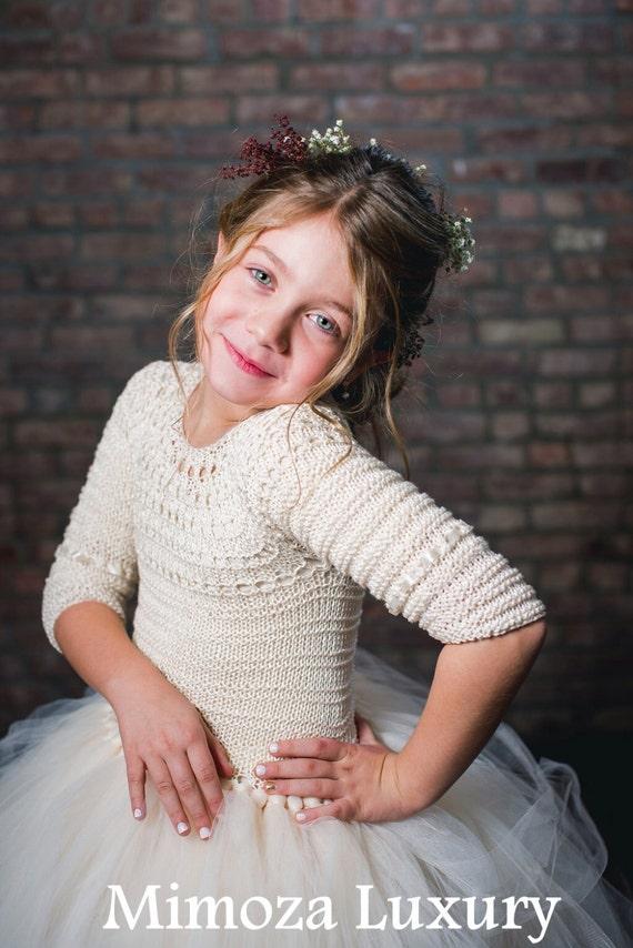Ivory Flower girl dress, Ivory tutu dress, long sleeve ivory tutu dress, bridesmaid dress princess dress, crochet top tulle dress