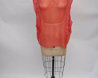 vintage RED top shirt tshirt mesh 1980s tank top sleeveless 80s oversized boyfriend fit
