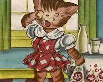 Vintage children's book illustration art crying cat kitten milk digital download printable instant image