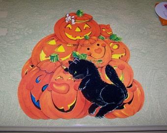 Vintage retro Halloween die cut decoration black cat JOL pumpkin jack o' lantern