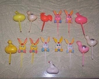15 plastic Easter bunny chick egg cupcake picks