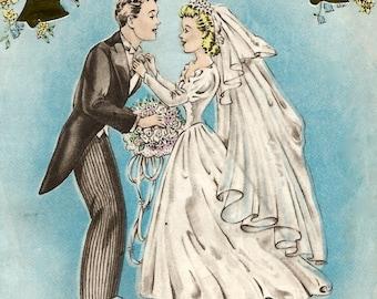 Vintage Wedding Congratulations Card Newlyweds Bride Groom Digital Download Printable Instant Image